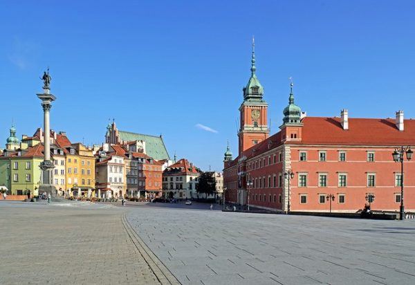 Historic square in Warsaw, Poland.