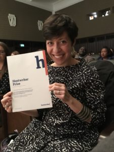 Irene Caselli after receiving the Hostwriter Story Prize at the Outriders Summit in Warsaw